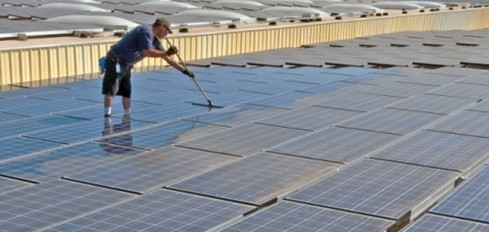 Cleaning a Solar PV array 2