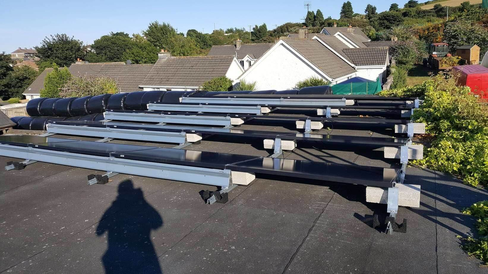 11kWP Flat Roof Railing System Development in Wicklow, SME Solar Panel PV
